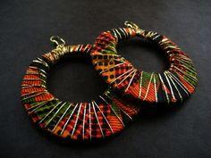 Kente African Fabric Hoop Earrings by AfriqueLaChic on Etsy
