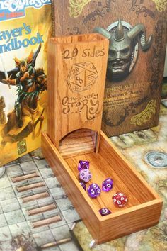 This hand crafted dice tower is made of red oak and finished in a semi-gloss clear coat for many years of TRULY EPIC dice rolls. Easily rolls up to 25 Board Game Geek, Board Games, Nerd Crafts, Diy Crafts, Dungeon Master's Guide, Dice Tower, Dungeons And Dragons Dice, Paper Games, Pathfinder Rpg