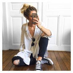 #latergram tenue d'hier, et pour aujourd'hui, ce sera short en jean et Arizona✔ lunettes #triwa sur @triwaworld chemise #freepeople sur @freepeople jean #Zara (old) baskets #converse sur @zalando_official
