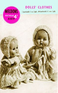 PDF Vintage 1940s Doll Clothes Knitting Pattern Weldons A1019