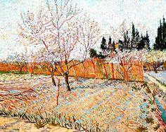 Vincent Van Gogh - Post Impressionism - Arles - Verger avec un pêcher en fleurs.