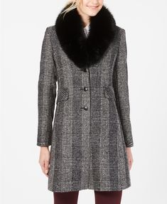 High-style awaits in the classic silhouette of this plaid reefer coat from Forecaster, designed with an elegant fox fur shawl collar to complete the look. Fur Collars, Fox Fur, Unisex Baby Clothes, Leggings Are Not Pants, Jacket Dress, High Fashion, Coats For Women, Plaid, Couture