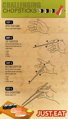 How to use chopsticks! from Just-Eat. Dining Etiquette, Etiquette And Manners, Useful Life Hacks, Chopsticks, Japanese Food, Food Hacks, Asian Recipes, Food Art, Cooking Tips
