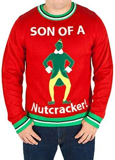 1bc6264d2 Men's Elf The Movie 'Son of a Nutcracker' Sweater (Red) - Ugly Holiday  Sweater. Ugly Christmas Sweaters