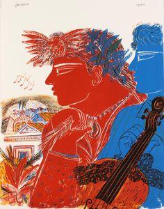 "blastedheath: "" Alecos Fassianos (Greek, b. Lithograph, 60 x 51 cm. Salvador Dali, Fine Art Drawing, Art Drawings, Blur, Louis Aragon, Ancient Myths, Arches Paper, Greek Art, Gravure"