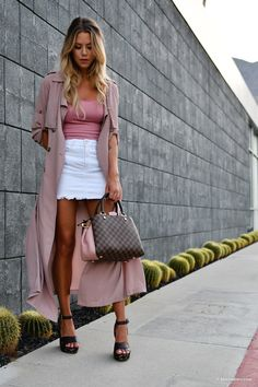 Kier Mellour in forever 21 white denim mini skirt and mauve duster with  Louis Vuitton Brittany 803fd871339