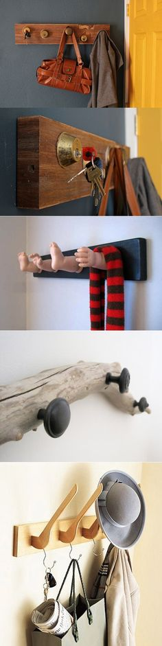 These are super rad! Minus the doll hands and feet one, that's just creepy. DIY hangers: