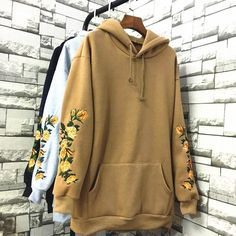 2018 New Autumn Winter Women Hoodies Long Sleeve Floral Sweatershirts Female Casual Loose Outwear Pullover Hooded Clothes Source by clothing K Fashion, Korean Fashion, Fashion Outfits, Fashion 2018, Fashion Women, Pastel Outfit, Pullover, Sweater Hoodie, Hoody
