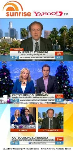 "Worked with Sunrise, Australia's version of The Today Show, to put Dr. Jeffrey Steinberg of The Fertility Institutes on television to talk about ""outsourcing surrogacy"" because of flawed laws in New South Wales Surrogacy, Michael Buble, Today Show, South Wales, Fertility, Sunrise, Face, Sunrises, Sunrise Photography"