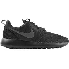 Nike Roshe One Sneakers ($89) ❤ liked on Polyvore featuring shoes, sneakers, rubber sole shoes, nike footwear, black sneakers, lacing sneakers and black lace up sneakers