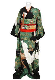 Embroidered Crane Kimono