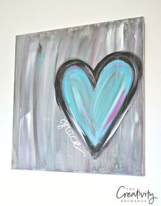 Tutorial for DIY Heart Painting Canvas. The Creativity Exchange #canvaspaintingparty