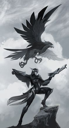 Quinn and Valor Concept. Not a fan of the champion but the form is great. Love Quinn's silhouette here.