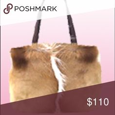 """Diane Gail Handbag Real Fur. Measurements: 14"""" W x 11.25""""H x4.25"""" D. Price $145 at dianegail.com. Leather straps have a little wear as shown in photos but not very visible. Bag is a little worn inside but could add a liner to cover. Some areas missing fur but makes the bag look nicely distressed. Metal feet on bottom of bag. Make me an offer!💕💋 DianeGail Bags Shoulder Bags"""
