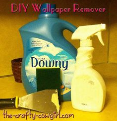 Makes pulling down wallpaper so easy!  Mix 1 part fabric softener to about 4 parts warm water in a spray bottle then use a scraper and sponge (I like scrubby kind) to remove the paper after you've liberally sprayed it.