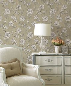60's retro floral wallpaper. Matte finish neutrals on a linen texture background. Find it at http://lelandswallpaper.com
