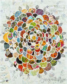 bohemian flower boho art mixed media collage 11 x 14 by Jenndalyn, $25.00