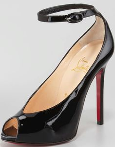 Rampoldi Ankle-Strap Red Sole Pump, Black by Christian Louboutin at Neiman Marcus. Cheap Christian Louboutin, Fashion Shoes, Teen Fashion, Runway Fashion, Fashion Models, London Fashion, Fashion Designers, Fashion Trends, Valentino Shoes