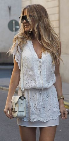 Little white crochet dress with matching leather crossbody bag