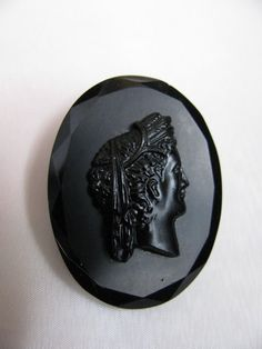 Czech Black Glass Cameo by victoriansentiments on Etsy, $30.00