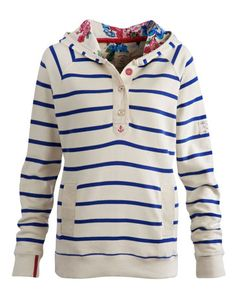 Joules FERRY Womens Striped Hoody, Creme. This sweatshirt will take you through the season in warm, comfort and style. The floral lining to the hood gives this nautical piece a hint of an English garden.