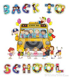 School bus and english word back to school