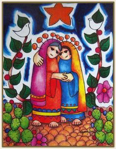 The mission of Visitation House in San Antonio, TX is to address the needs and concerns of economically poor women and children.  Artwork~ Mary and her cousin Elizabeth greet one another, painting by Enedina Casarez Vasquez