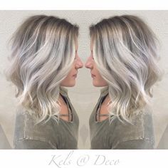 Icy blonde balayage with ashy roots!