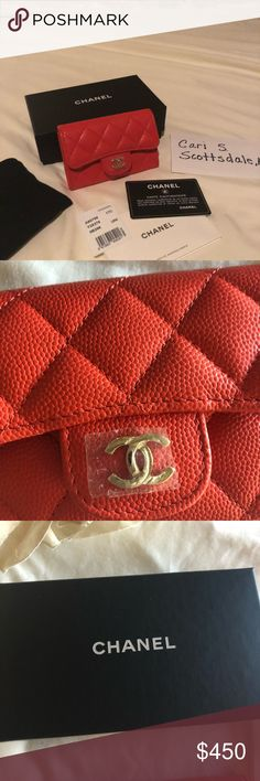 Chanel Cruise Collection Cardholder ♦️SOLD♦️ Chanel Coral Red Cardholder w/gold hardware, 2017 Cruise collection, comes w/card of authenticity. Box, & velvet pouch. CHANEL Accessories Key & Card Holders