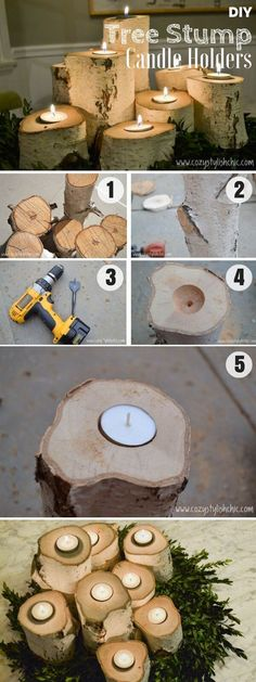 The best DIY projects & DIY ideas and tutorials: sewing, paper craft, DIY. Diy Candles Ideas Brilliant rustic easy to make DIY Tree Stump Candle Holders for fall decor DIY Home Decor Ideas @ ISD -Read Deco Table Noel, Diy Candle Holders, Christmas Candle Holders, Christmas Candles, Woodworking Projects Diy, Wood Projects, Easy Projects, Easy Home Decor, Rustic Decor