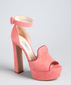 aecb1ecf7f2 Prada pink and plum suede loafer ankle strap platform pumps Soft suede  upper Rounded peep toe Contoured loafer opening at vamp