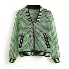 Mesh Bomber Jacket With Ribbed Hem ($24) ❤ liked on Polyvore featuring outerwear, jackets, green, bomber jacket, zipper jacket, blouson jacket, mesh jacket, bomber style jacket and green zip jacket