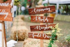 Pallet wood is a must if you're having a rustic, country wedding. Check out all of our country barn reception decor ideas here! Honey Wedding Favors, Diy Wedding, Rustic Wedding, Wedding Ceremony, Wooden Wedding Signs, Wooden Signs, Country Barn Weddings, Barn Wedding Decorations, Reception Signs