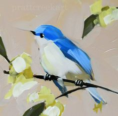 cerulean warbler and spring blossoms original bird and flower oil painting by moulton 6 x 6 inches prattcreekart