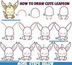 How To Draw Cute Kawaii Chibi Leafeon From Pokemon Easy Step By Step Drawing Tutorial For Kids Cute Drawings Pokemon Drawings Drawing Tutorials For Kids