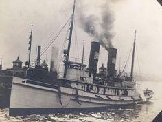 Antique Photograph of Lackawanna Railroad Railway Tug Boat Massachusetts 1900s