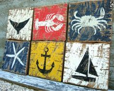 Blueprint art blueprint art outdoor christmas and christmas decor rustic distressed crab lobster starfish whale by theunpolishedbarn put these 6 painted boards inside the frame of the lighthouse picture malvernweather Images