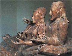 Famous Married Couples in History | Etruscan Art. Photograph of front of Sarcophagus of a Married Couple.