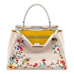 Peekaboo Large Floral-Embroidered Satchel Bag by Fendi. Fendi floral-embroidered calfskin satchel bag with geometric ABS studs. Palladium hardware and scalloped trim. Flat t...
