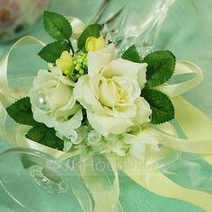 Wrist Corsage Free-Form Wedding Party Satin Cotton Ivory 3.15