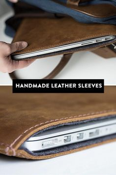 Handcrafted in Texas, these handsome leather sleeves fit Apple laptops and iPads perfectly. Leather Art, Leather Gifts, Leather Design, Cowhide Leather, Handmade Leather, Leather Laptop Case, Laptop Bag, Leather Wallet, Macbook Bag