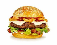 THE TOPPINGS & FIXINGS: Brick Cheese, Beef Patty, BBQ  Sauce, Peppered Pork, Onion Rings, Boston Bibb Lettuce, and Mayonnaise  on a Toasted Sesame Burger Bun.