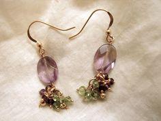 14k gold fill wire work ametryne and peridot earrings