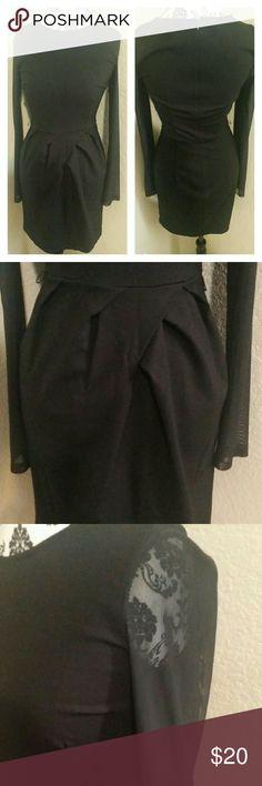 Long sleeve dress Black  long sleeve dress with sheer sleeves Dresses Long Sleeve