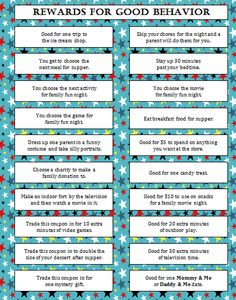 Rewards for Good Behavior (Free Printable) #FamilyFun