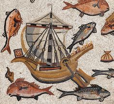Ship motif from The Lod floor mosaic, late third C.E., Israel Antiquities Authority. Photo: © Israel Antiquities Authority/Nicky Davidov