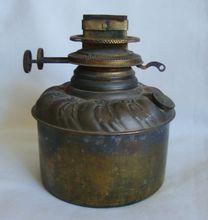 19c Antique Victorian Brass Banquet GWTW Oil Kerosene Lamp Font Fount & Double Burner Gone With the Wind c. 1890
