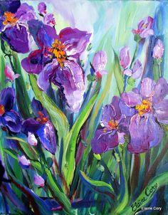 Purple IRIS Floral Original painting palette knife 14 x 18 Fine Art by Elaine Cory. $110.00, via Etsy.