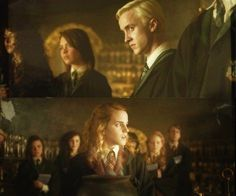 ImageFind images and videos on We Heart It - the app to get lost in what you love. Draco And Hermione, Draco Malfoy, Hermione Granger, Emma Watson Rupert Grint, Daniel Radcliffe Emma Watson, Dramione, Drarry, We Heart It, Canon Ship