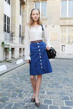 A line denim skirt-messy-streets